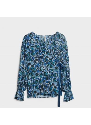 Yargıcı Kadın Plise Detaylı Bluz 0KKGM6019X186 Mavi